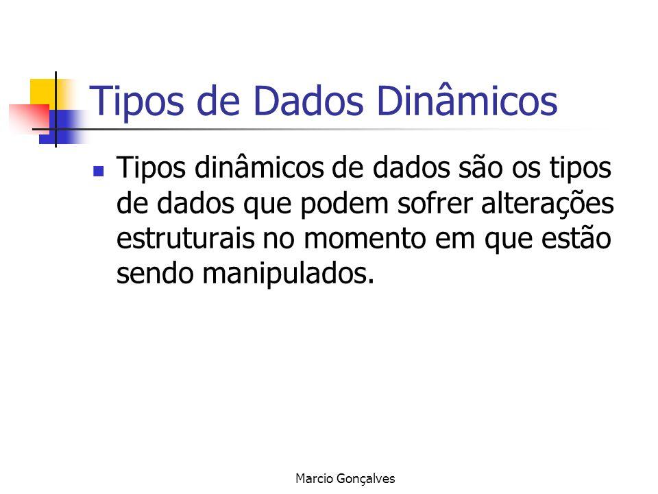 Marcio Gonçalves Tipos de Dados Dinâmicos Tipos dinâmicos de dados são os tipos de dados que podem sofrer alterações estruturais no momento em que est