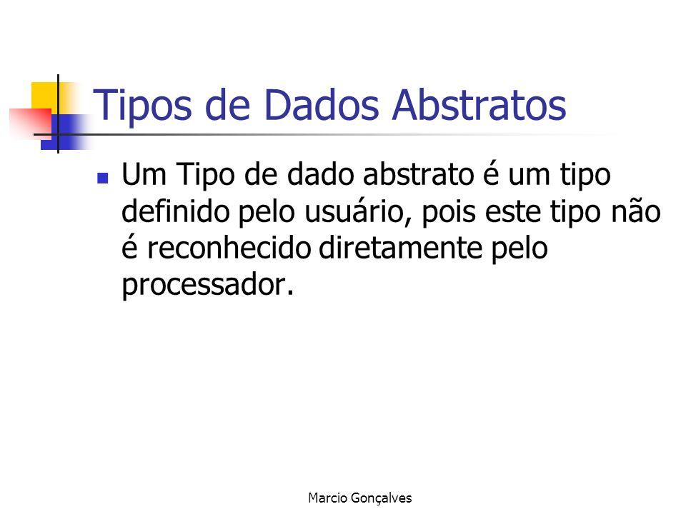 Marcio Gonçalves Tipos de Dados Abstratos Um Tipo de dado abstrato é um tipo definido pelo usuário, pois este tipo não é reconhecido diretamente pelo
