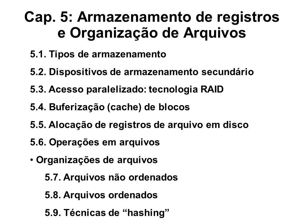 Cap. 5: Armazenamento de registros e Organização de Arquivos 5.1. Tipos de armazenamento 5.2. Dispositivos de armazenamento secundário 5.3. Acesso par