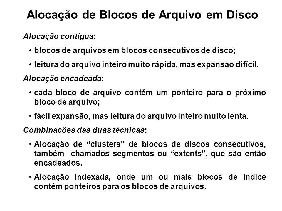 Alocação de Blocos de Arquivo em Disco Alocação contígua: blocos de arquivos em blocos consecutivos de disco; leitura do arquivo inteiro muito rápida,
