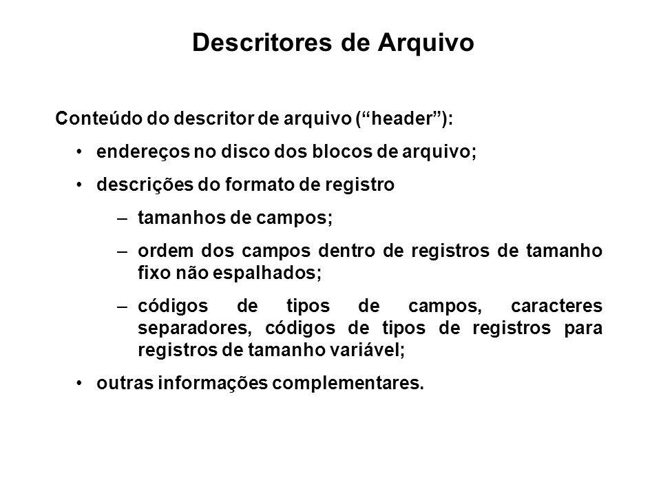 Descritores de Arquivo Conteúdo do descritor de arquivo (header): endereços no disco dos blocos de arquivo; descrições do formato de registro –tamanho