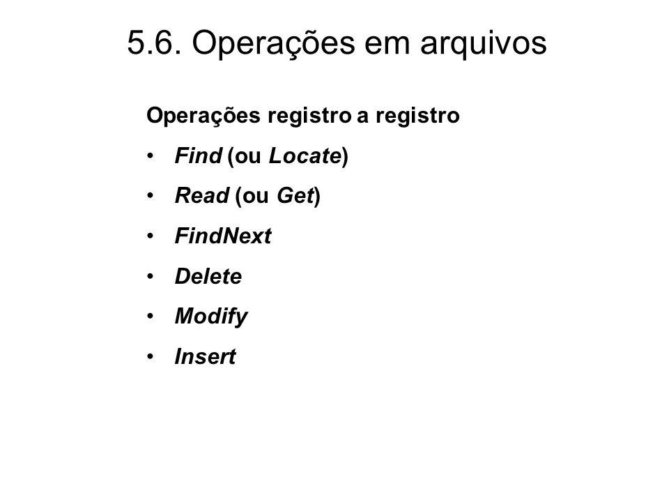 5.6. Operações em arquivos Operações registro a registro Find (ou Locate) Read (ou Get) FindNext Delete Modify Insert