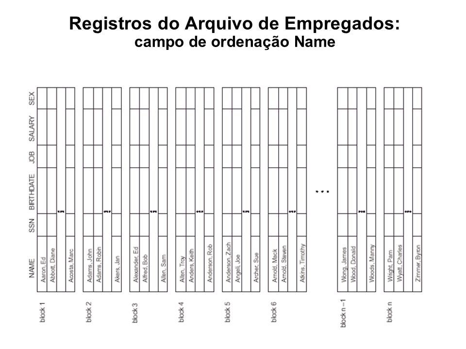 Registros do Arquivo de Empregados: campo de ordenação Name
