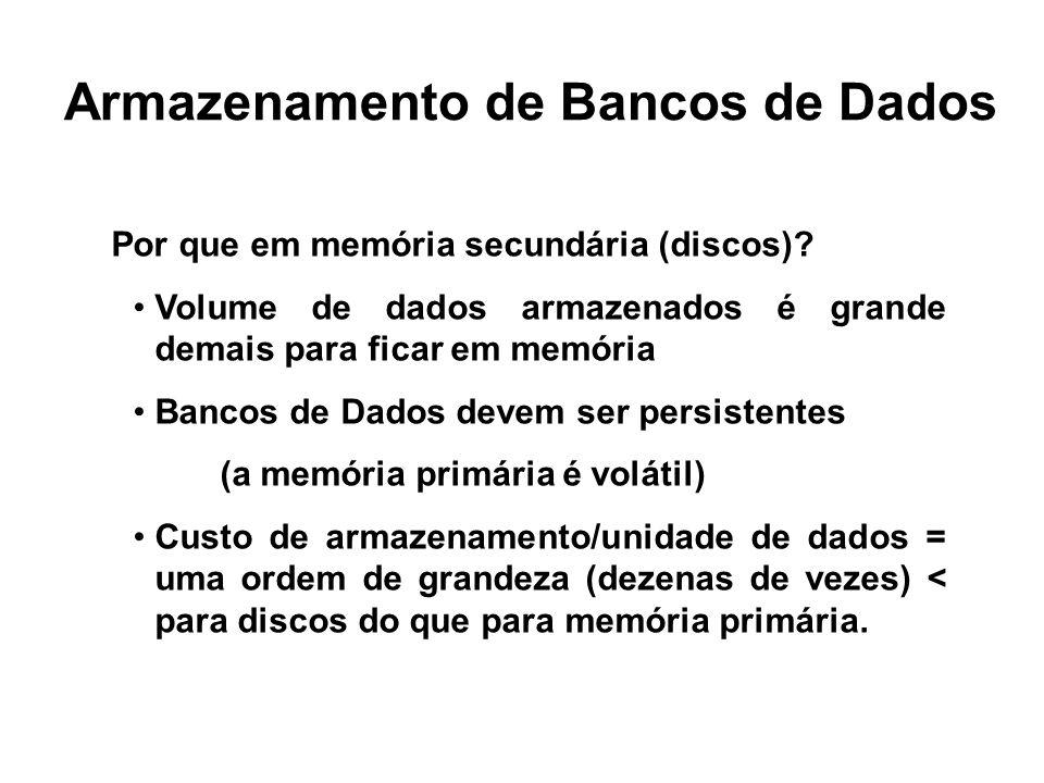 Armazenamento de Bancos de Dados Por que em memória secundária (discos)? Volume de dados armazenados é grande demais para ficar em memória Bancos de D