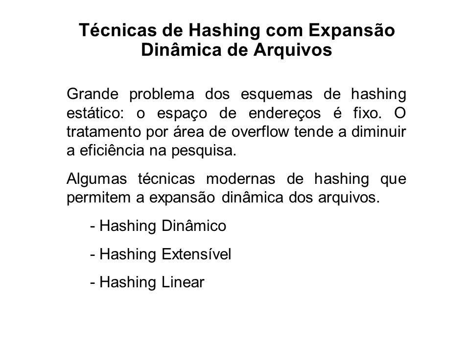 Técnicas de Hashing com Expansão Dinâmica de Arquivos Grande problema dos esquemas de hashing estático: o espaço de endereços é fixo. O tratamento por