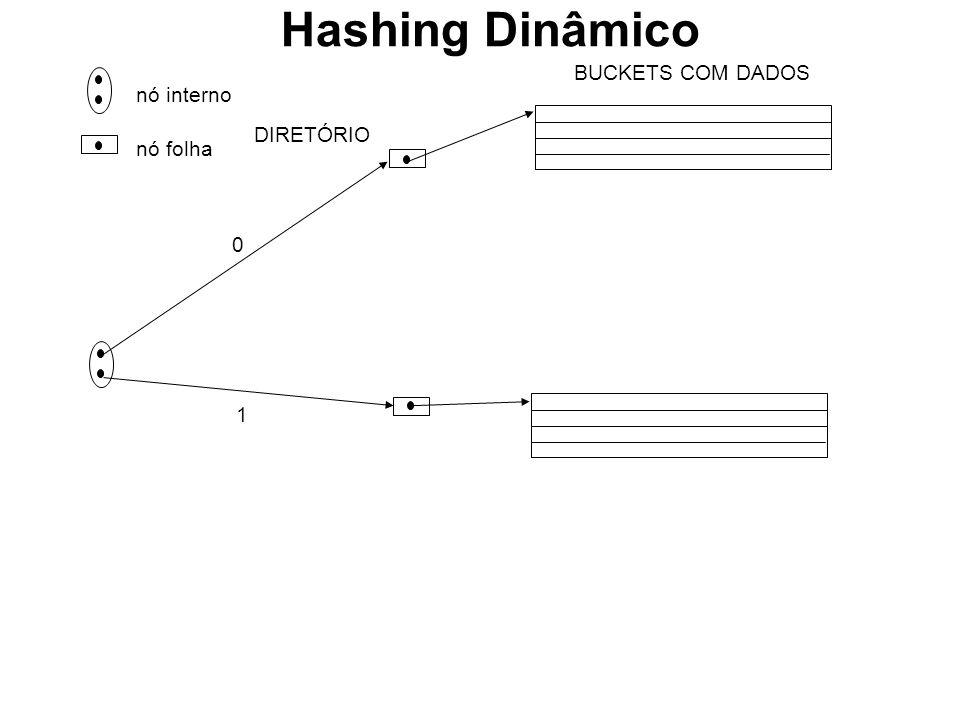 nó interno nó folha DIRETÓRIO 0 1 BUCKETS COM DADOS Hashing Dinâmico