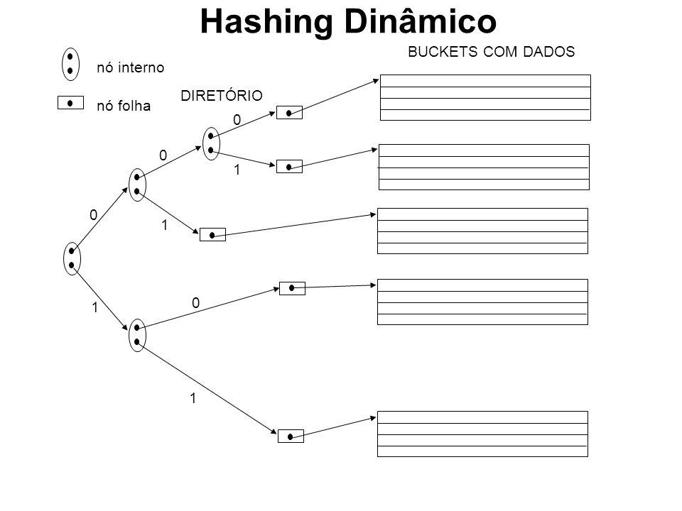 nó interno nó folha DIRETÓRIO 0 1 0 0 1 1 BUCKETS COM DADOS 0 1 Hashing Dinâmico