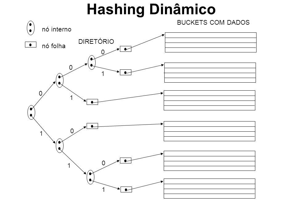 nó interno nó folha DIRETÓRIO 0 1 0 0 0 0 1 1 1 1 BUCKETS COM DADOS Hashing Dinâmico