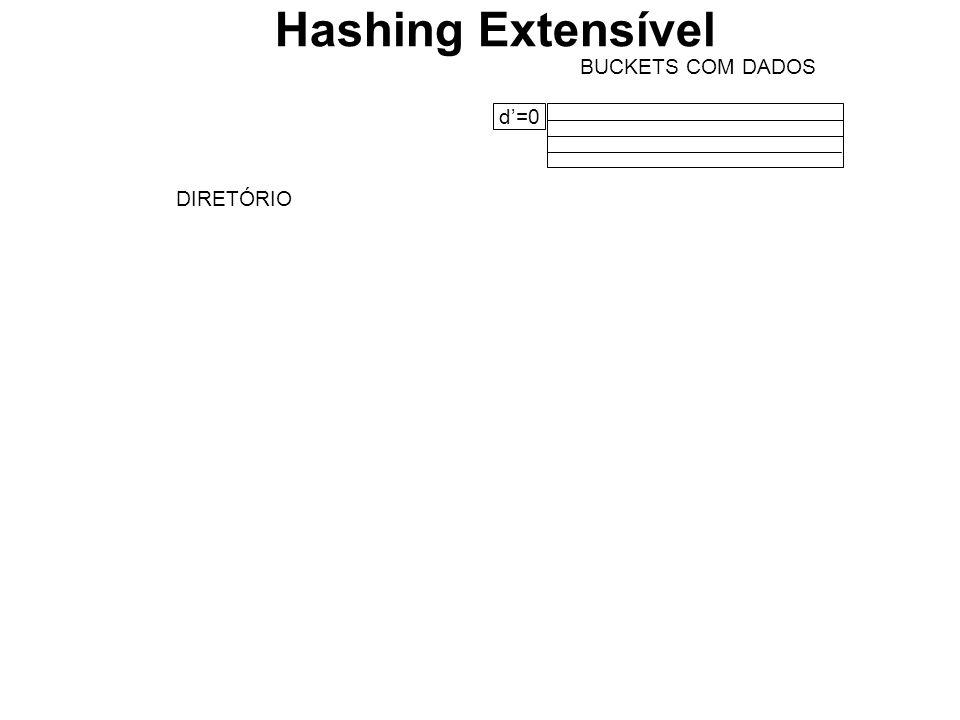 BUCKETS COM DADOS d=0 DIRETÓRIO Hashing Extensível