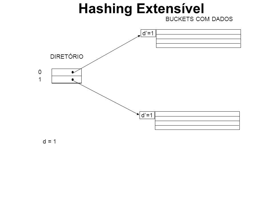 BUCKETS COM DADOS d=1 0101 DIRETÓRIO d = 1 Hashing Extensível