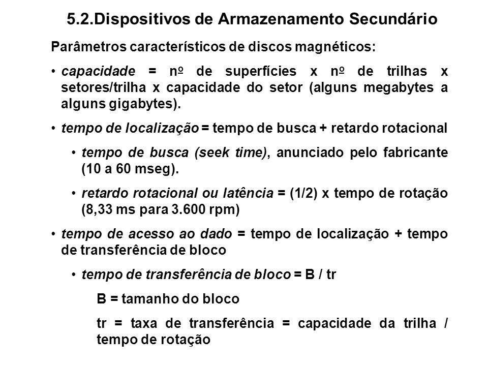 5.2.Dispositivos de Armazenamento Secundário Parâmetros característicos de discos magnéticos: capacidade = n o de superfícies x n o de trilhas x setor