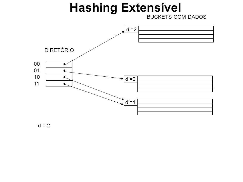 BUCKETS COM DADOS d=2 d=1 00 01 10 11 DIRETÓRIO d = 2 Hashing Extensível