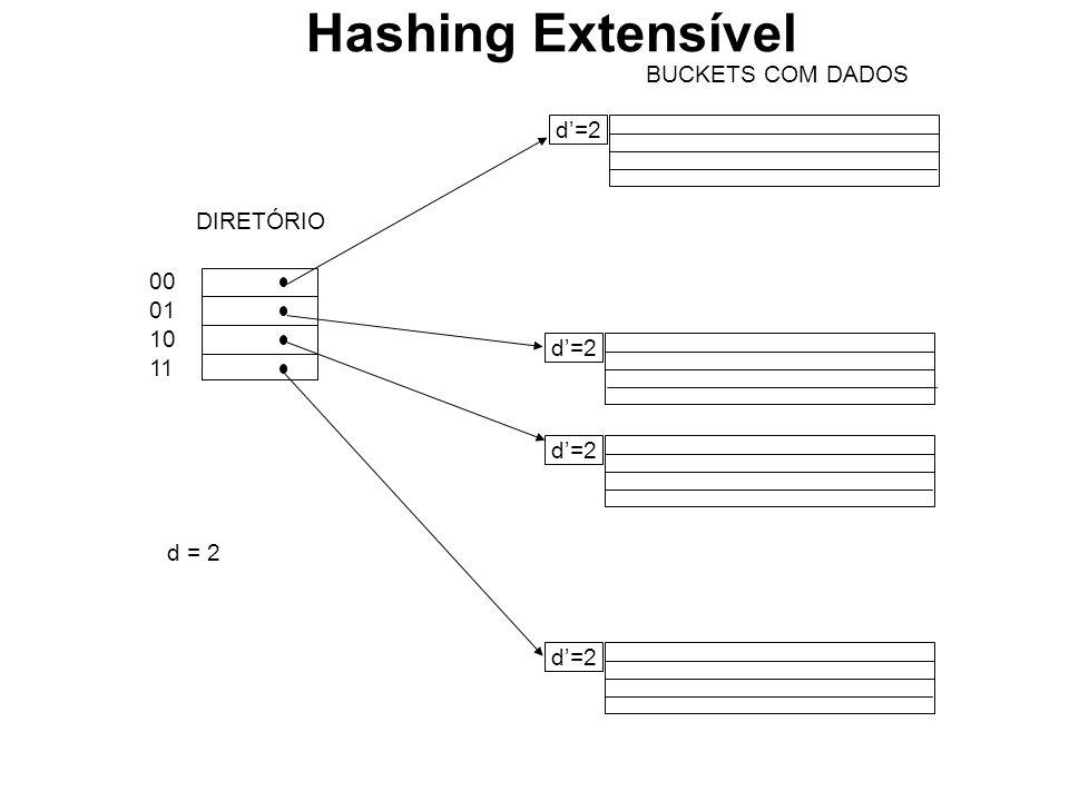 BUCKETS COM DADOS d=2 00 01 10 11 DIRETÓRIO d = 2 Hashing Extensível
