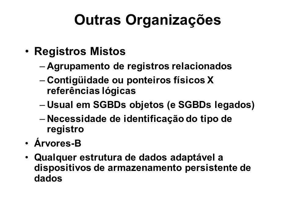 Outras Organizações Registros Mistos –Agrupamento de registros relacionados –Contigüidade ou ponteiros físicos X referências lógicas –Usual em SGBDs o