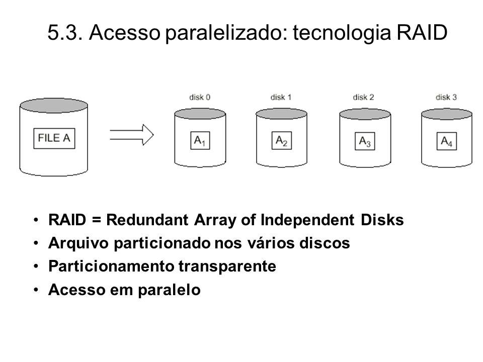 5.3. Acesso paralelizado: tecnologia RAID RAID = Redundant Array of Independent Disks Arquivo particionado nos vários discos Particionamento transpare