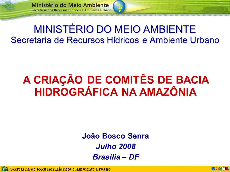 Secretaria de Recursos Hídricos e Ambiente Urbano MINISTÉRIO DO MEIO AMBIENTE Secretaria de Recursos Hídricos e Ambiente Urbano A CRIAÇÃO DE COMITÊS DE BACIA HIDROGRÁFICA NA AMAZÔNIA João Bosco Senra Julho 2008 Brasília – DF