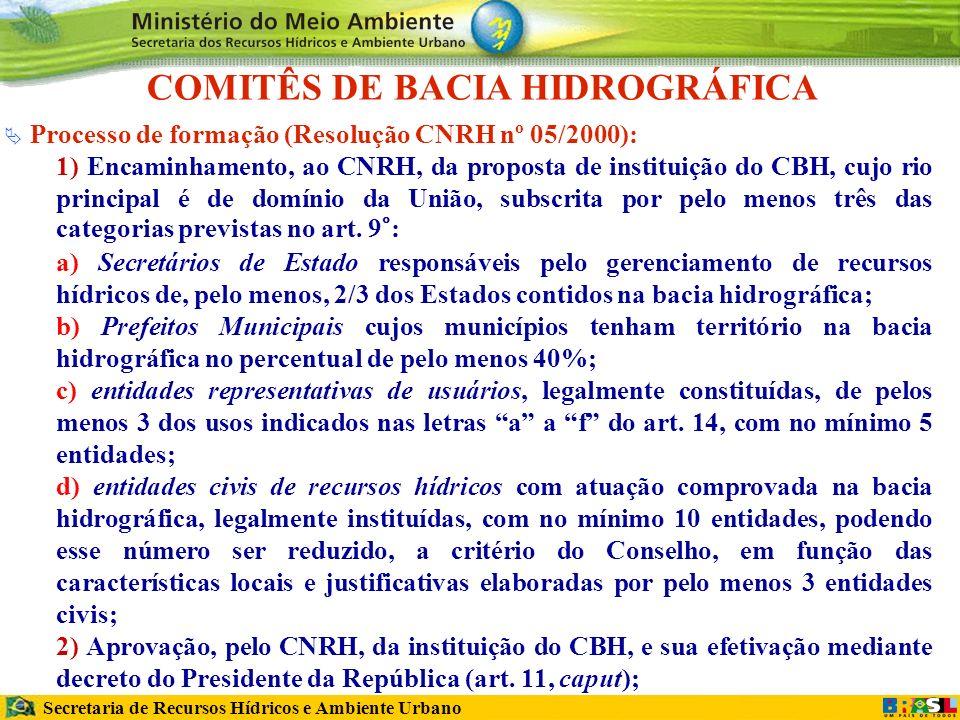Secretaria de Recursos Hídricos e Ambiente Urbano COMITÊS DE BACIA HIDROGRÁFICA Processo de formação (Resolução CNRH nº 05/2000): 1) Encaminhamento, ao CNRH, da proposta de instituição do CBH, cujo rio principal é de domínio da União, subscrita por pelo menos três das categorias previstas no art.