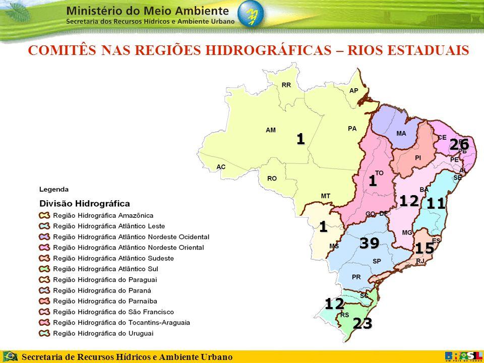 Secretaria de Recursos Hídricos e Ambiente Urbano 12 12 39 23 15 11 26 1 COMITÊS NAS REGIÕES HIDROGRÁFICAS – RIOS ESTADUAIS1 1