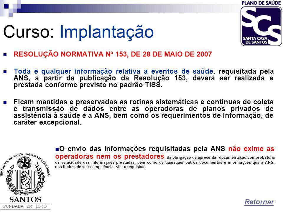 Curso:Implantação RESOLUÇÃO NORMATIVA Nº 153, DE 28 DE MAIO DE 2007 Toda e qualquer informação relativa a eventos de saúde, requisitada pela ANS, a pa