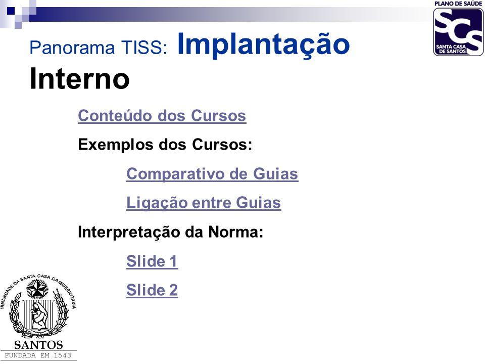 Interno Conteúdo dos Cursos Exemplos dos Cursos: Comparativo de Guias Ligação entre Guias Interpretação da Norma: Slide 1 Slide 2 Panorama TISS: Impla