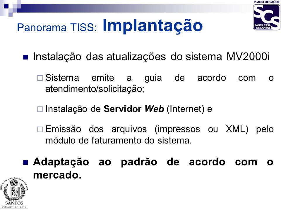 Instalação das atualizações do sistema MV2000i Sistema emite a guia de acordo com o atendimento/solicitação; Instalação de Servidor Web (Internet) e E