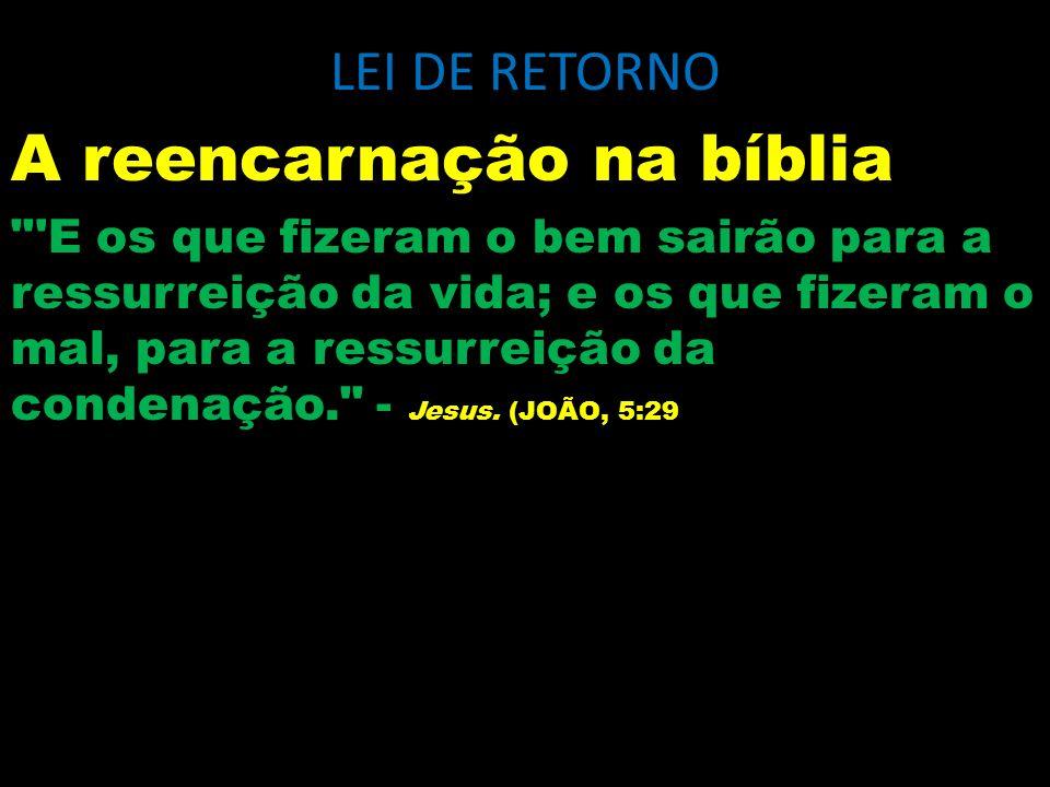 LEI DE RETORNO Em raras passagens do Evangelho, a lei reencarnacionista permanece tão clara quanto aqui, em que o ensino do mestre se reporta à ressurreição da condenação.