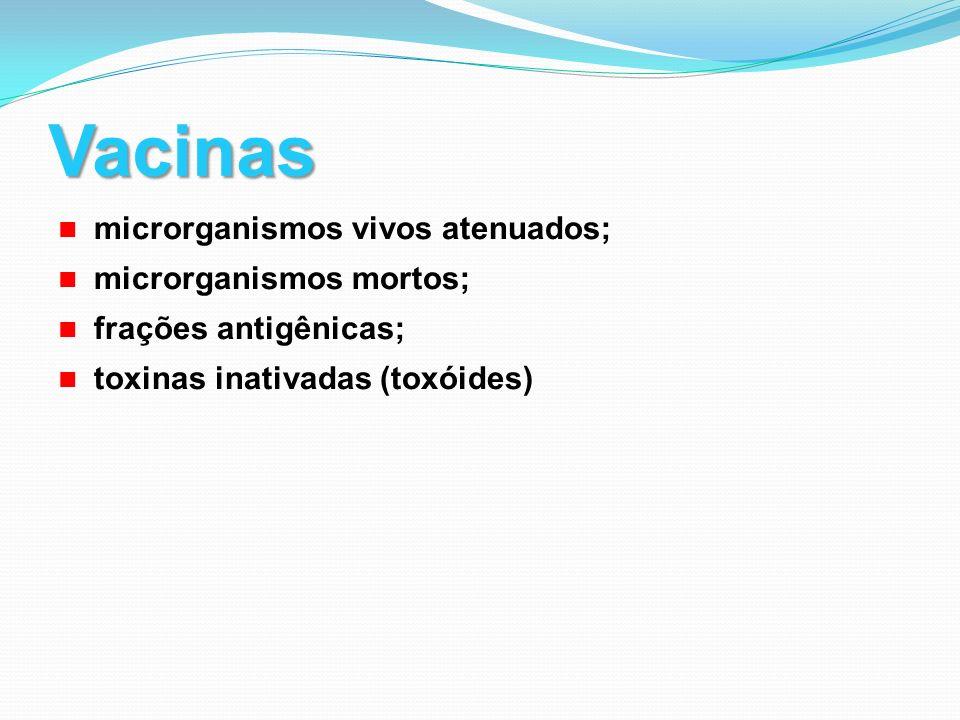 Vacinas microrganismos vivos atenuados; microrganismos mortos; frações antigênicas; toxinas inativadas (toxóides)