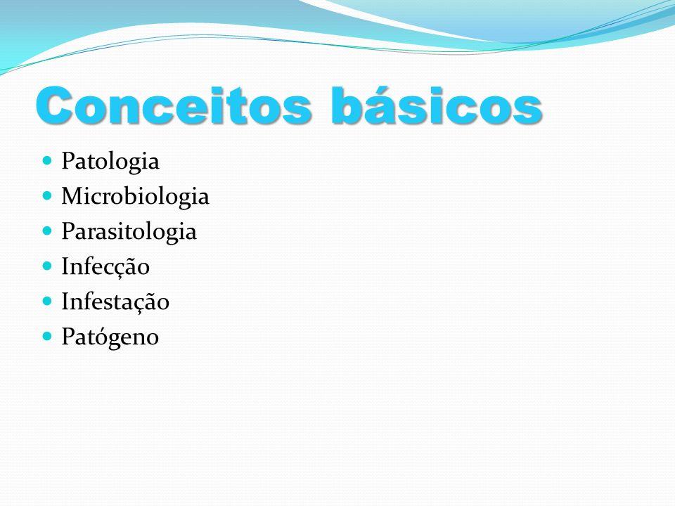 Conceitos básicos Patologia Microbiologia Parasitologia Infecção Infestação Patógeno