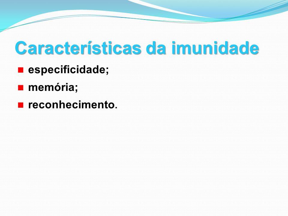 Características da imunidade especificidade; memória; reconhecimento.