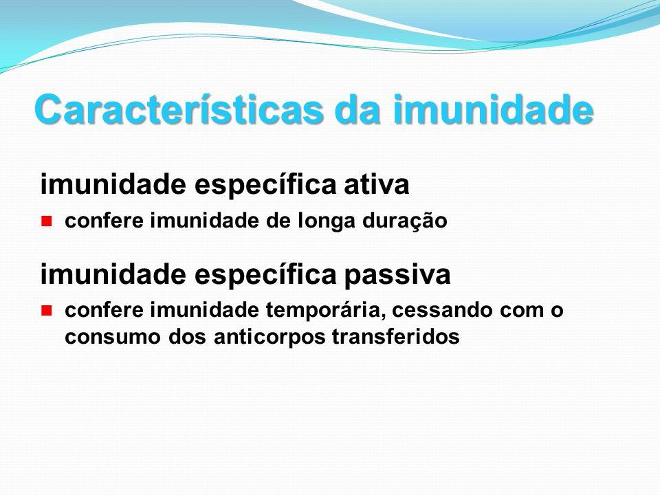 Características da imunidade imunidade específica ativa confere imunidade de longa duração imunidade específica passiva confere imunidade temporária,