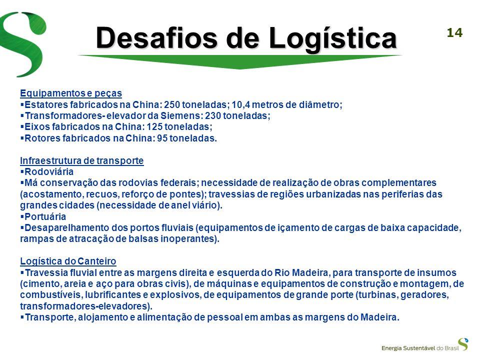 13 Desafios de Logística Quantidade de operações de transporte Diferentes modais, obrigando a operações de transbordo Dimensões e peso dos equipamento