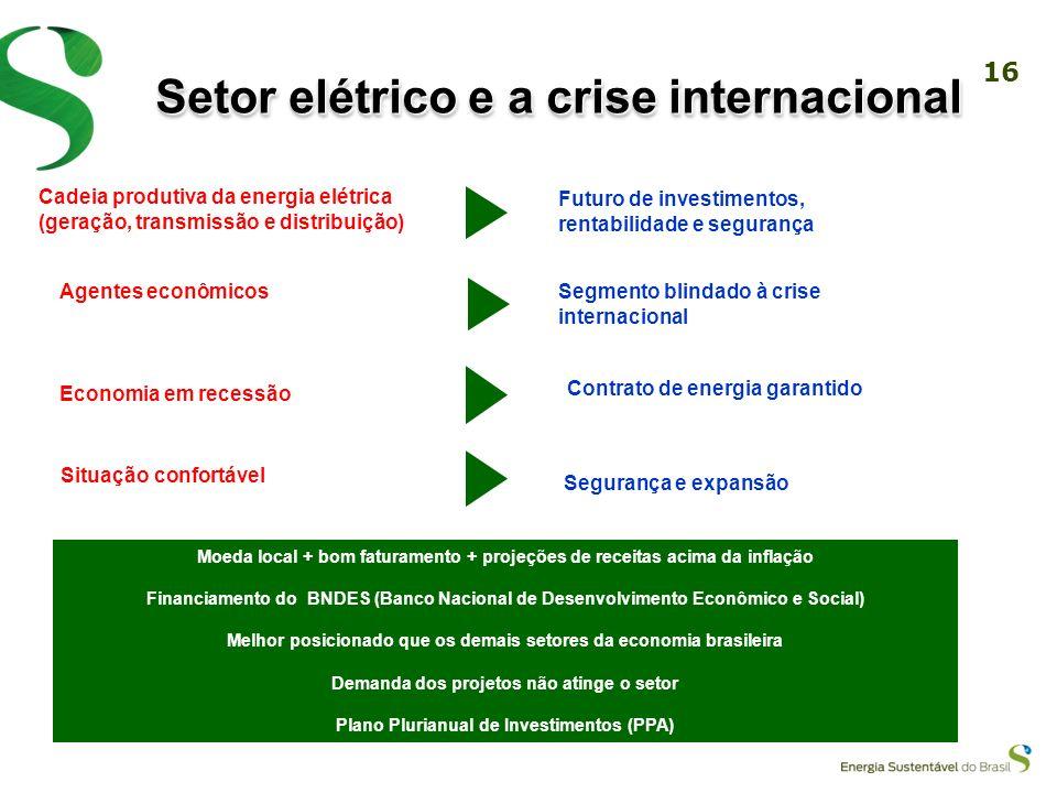 15 Modelo antigoModelo Novo Atual Financiamento com recursos públicos através do governo Financiamento através de recursos públicos via BNDES e de emp