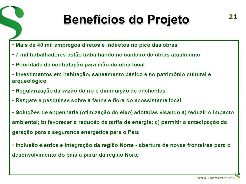 20 Benefícios do Projeto Projeto prioritário do Programa de Aceleração do Crescimento (PAC) do Governo Federal Usina de baixa queda com operação de tu