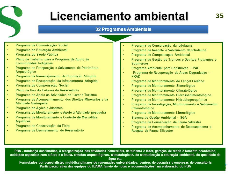 34 Programa Básico Ambiental (PBA) O licenciamento ambiental é uma obrigação legal para a instalação de todo empreendimento de grande porte A construç