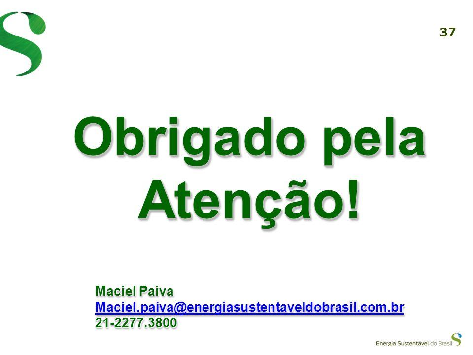 36 A Energia Sustentável do Brasil e as empresas sócias acreditam na superação da crise através de 1. Investimento na Infraestrutura 2. Investimento n