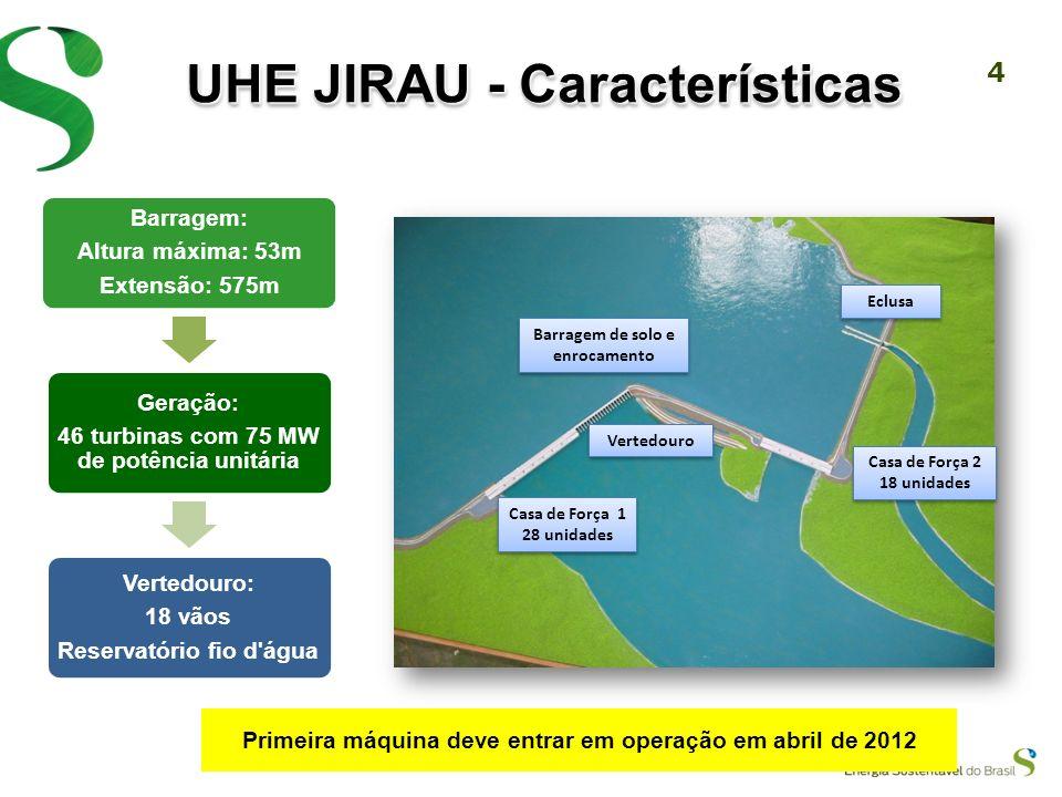3 UHE JIRAU - Características Localizada na Ilha do Padre, no Rio Madeira, a UHE Jirau, a cerca de 120 quilômetros da capital de Rondônia, Porto Velho