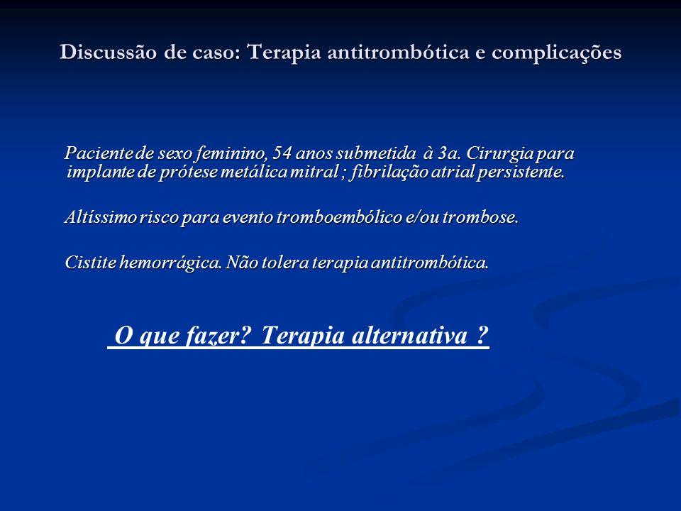 Discussão de caso: Terapia antitrombótica e complicações Paciente de sexo feminino, 54 anos submetida à 3a. Cirurgia para implante de prótese metálica