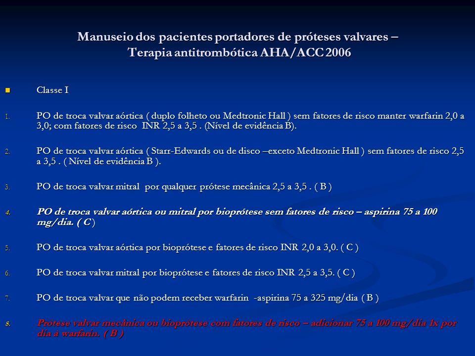 Manuseio dos pacientes portadores de próteses valvares – Terapia antitrombótica AHA/ACC 2006 Classe I Classe I 1. PO de troca valvar aórtica ( duplo f