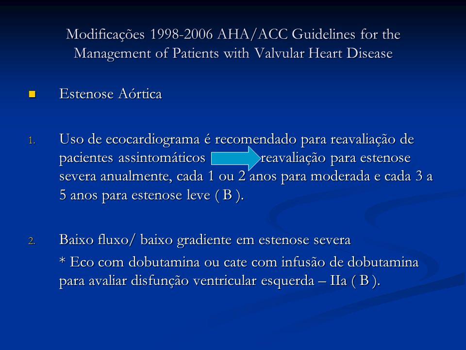 Modificações 1998-2006 AHA/ACC Guidelines for the Management of Patients with Valvular Heart Disease Estenose Aórtica Estenose Aórtica 1. Uso de ecoca