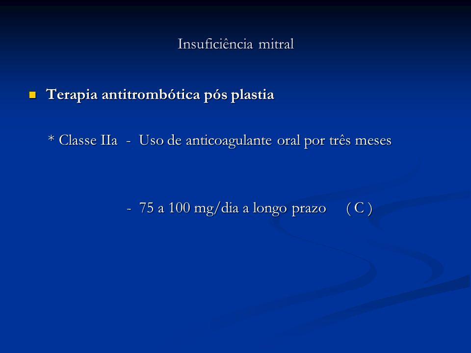 Insuficiência mitral Terapia antitrombótica pós plastia Terapia antitrombótica pós plastia * Classe IIa - Uso de anticoagulante oral por três meses *
