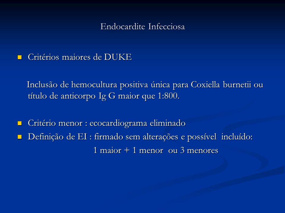 Endocardite Infecciosa Critérios maiores de DUKE Critérios maiores de DUKE Inclusão de hemocultura positiva única para Coxiella burnetii ou título de