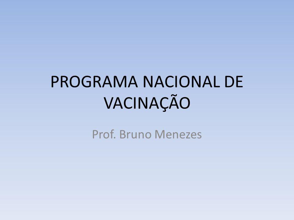 PROGRAMA NACIONAL DE VACINAÇÃO Prof. Bruno Menezes
