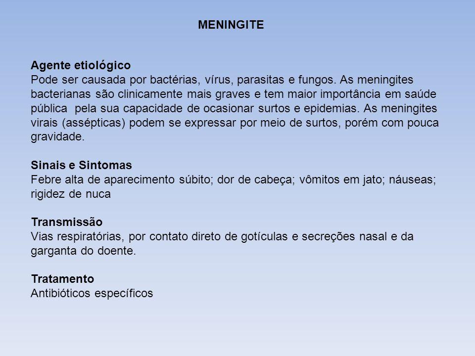 DIFTERIA MENINGITE Agente etiológico Pode ser causada por bactérias, vírus, parasitas e fungos. As meningites bacterianas são clinicamente mais graves