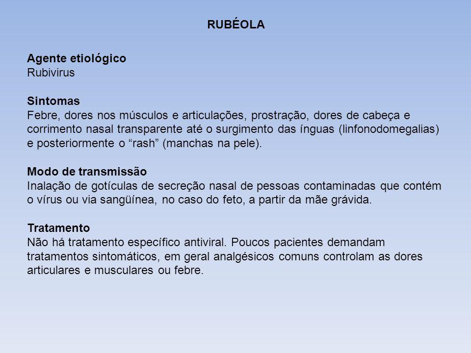 DIFTERIA RUBÉOLA Agente etiológico Rubivirus Sintomas Febre, dores nos músculos e articulações, prostração, dores de cabeça e corrimento nasal transpa