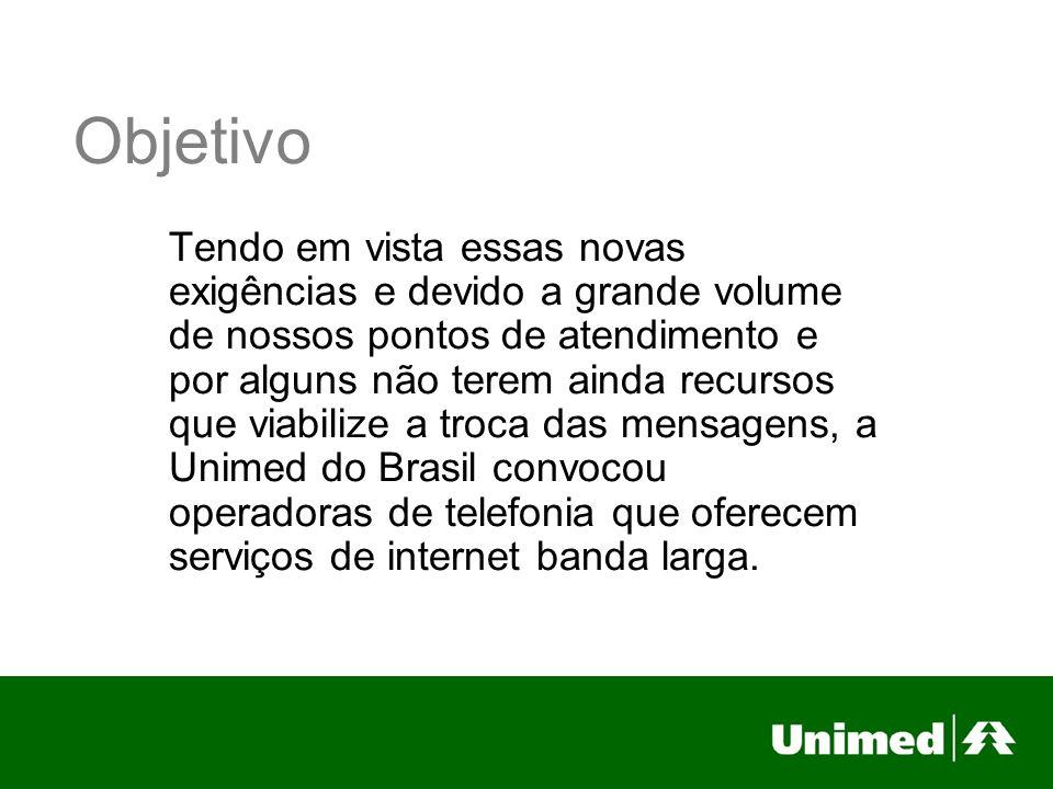 Objetivo Tendo em vista essas novas exigências e devido a grande volume de nossos pontos de atendimento e por alguns não terem ainda recursos que viabilize a troca das mensagens, a Unimed do Brasil convocou operadoras de telefonia que oferecem serviços de internet banda larga.
