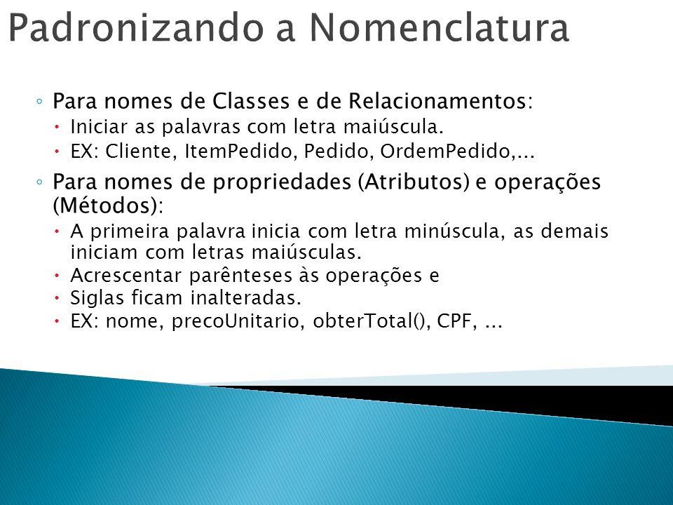 Para nomes de Classes e de Relacionamentos: Iniciar as palavras com letra maiúscula. EX: Cliente, ItemPedido, Pedido, OrdemPedido,... Para nomes de pr