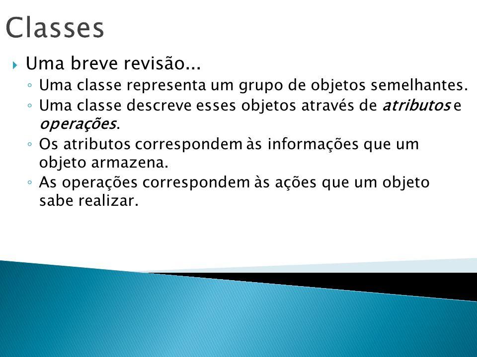 Classes Uma breve revisão... Uma classe representa um grupo de objetos semelhantes. Uma classe descreve esses objetos através de atributos e operações