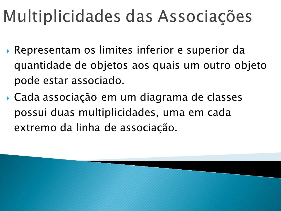 Multiplicidades das Associações Representam os limites inferior e superior da quantidade de objetos aos quais um outro objeto pode estar associado. Ca