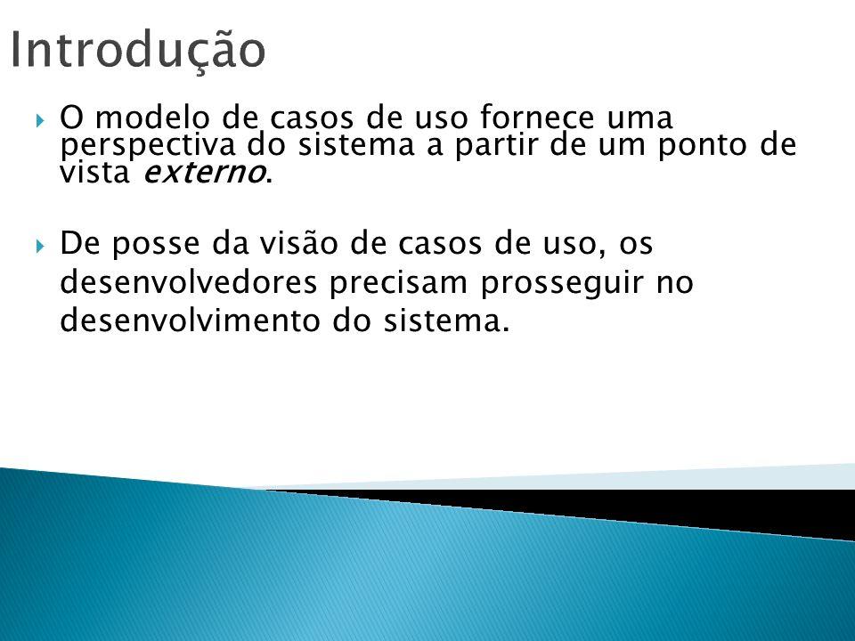 Introdução O modelo de casos de uso fornece uma perspectiva do sistema a partir de um ponto de vista externo. De posse da visão de casos de uso, os de