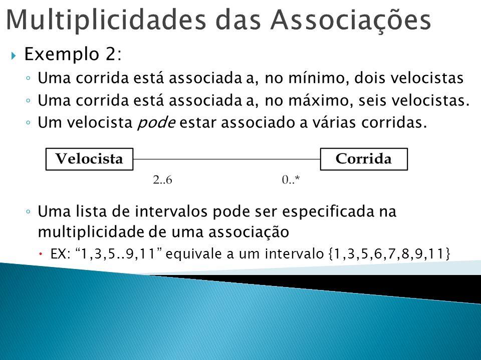 Multiplicidades das Associações Exemplo 2: Uma corrida está associada a, no mínimo, dois velocistas Uma corrida está associada a, no máximo, seis velo